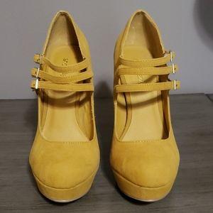 Yellow Gold Suede Platform Shoedazzle Heels 6.5